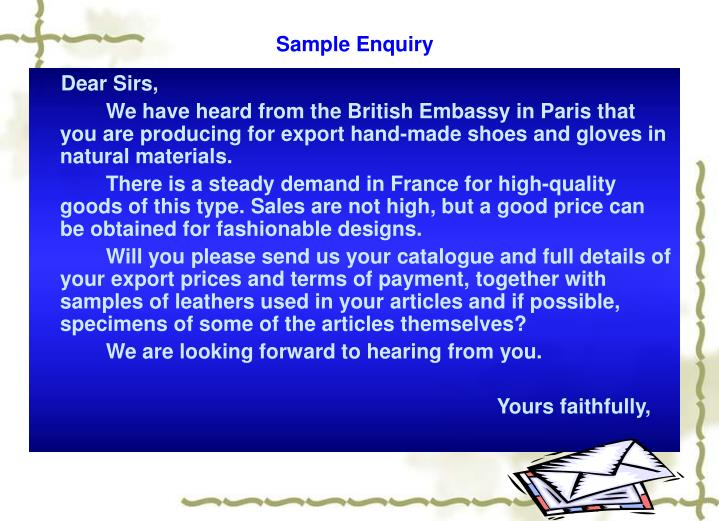 Sample Enquiry