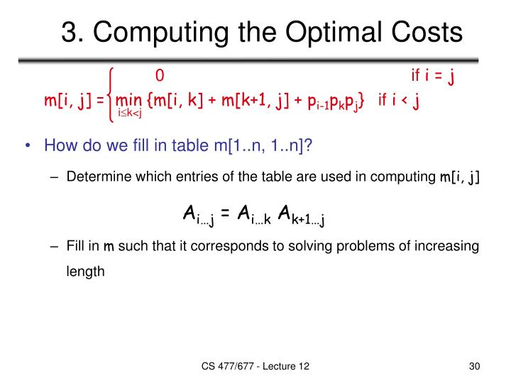 3. Computing the Optimal Costs