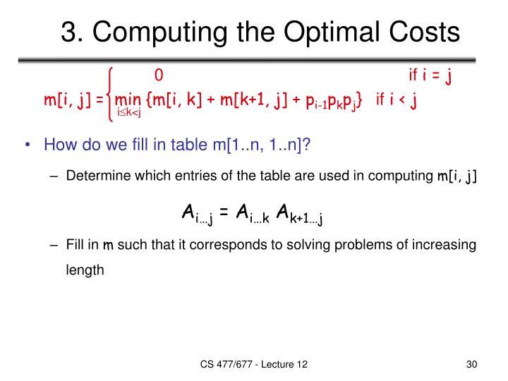 3. Computing the Optimal Costs