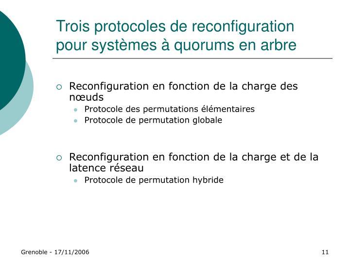 Trois protocoles de reconfiguration pour systèmes à quorums en arbre