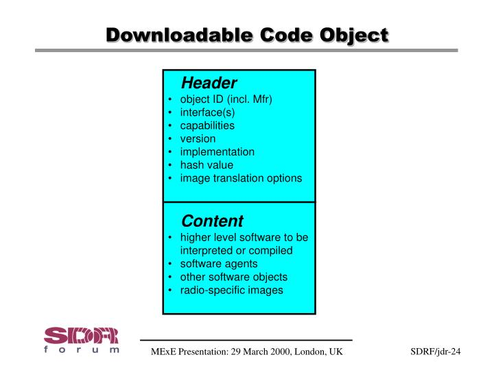 Downloadable Code Object