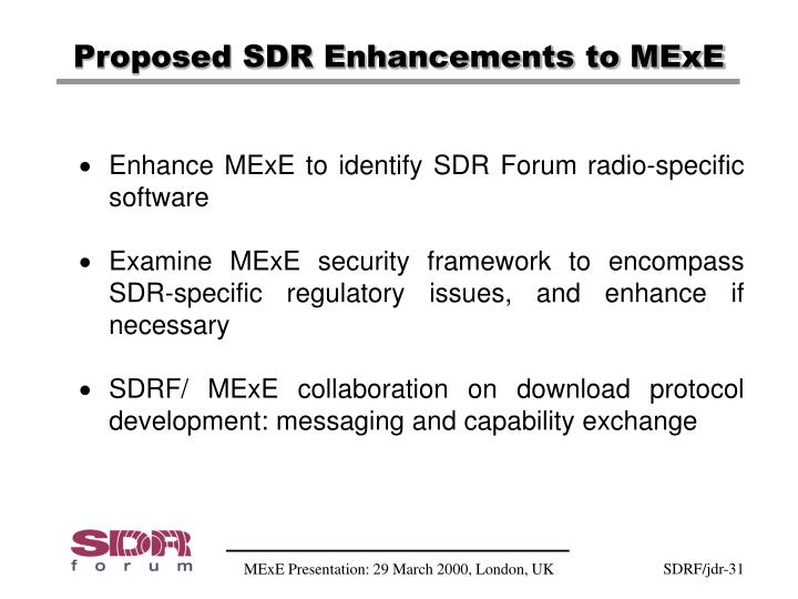 Proposed SDR Enhancements to MExE