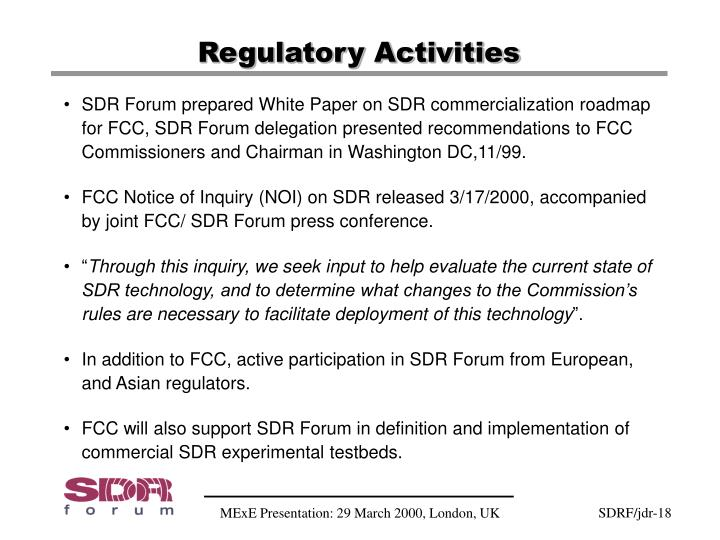 Regulatory Activities