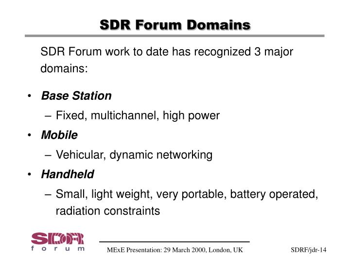 SDR Forum Domains