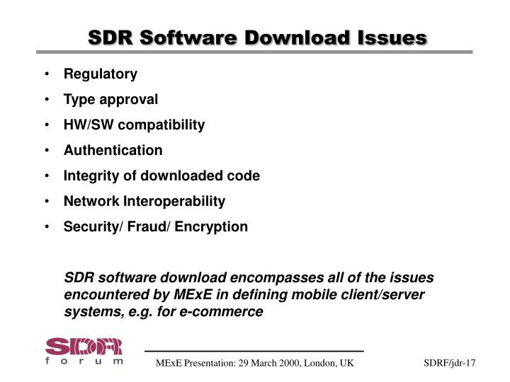 SDR Software Download Issues