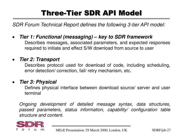 Three-Tier SDR API Model