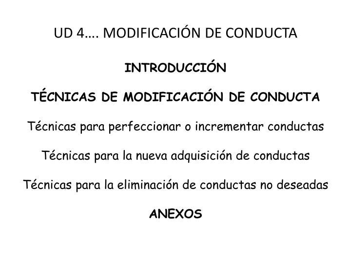 UD 4…. MODIFICACIÓN DE CONDUCTA