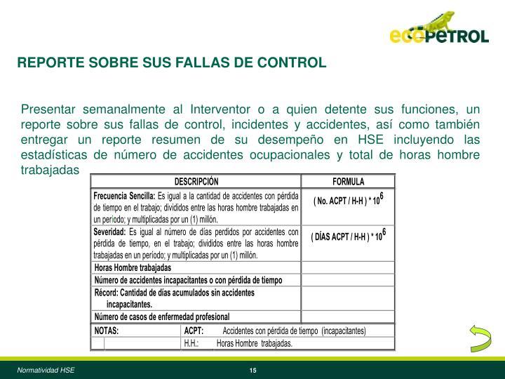 REPORTE SOBRE SUS FALLAS DE CONTROL