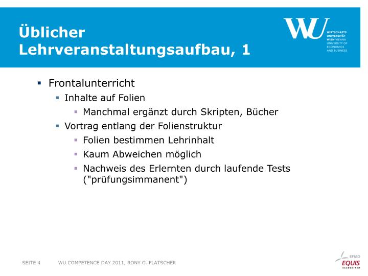 Üblicher Lehrveranstaltungsaufbau, 1