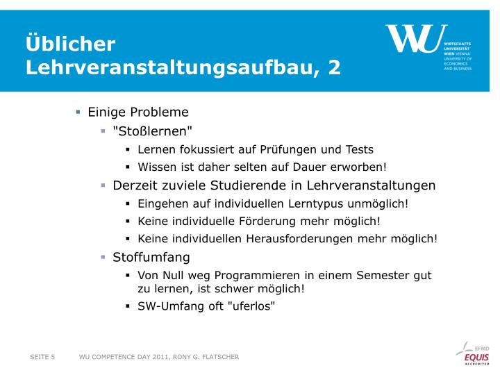 Üblicher Lehrveranstaltungsaufbau, 2