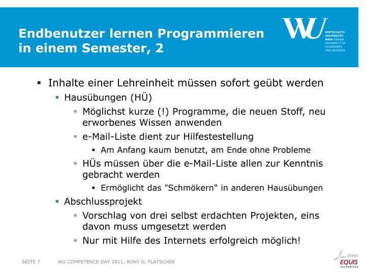 Endbenutzer lernen Programmieren in einem Semester, 2