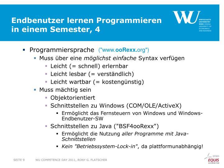Endbenutzer lernen Programmieren in einem Semester, 4