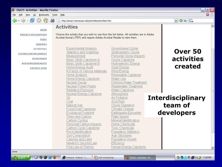 Over 50 activities created