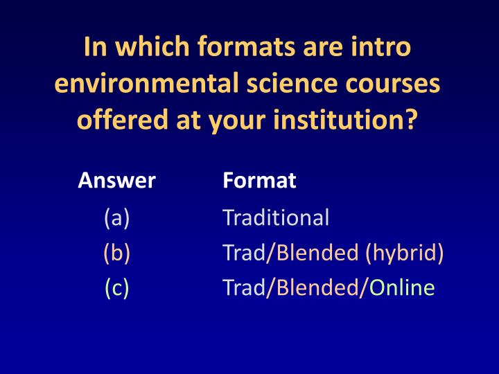 In which formats are intro environmental science courses offered at your institution?