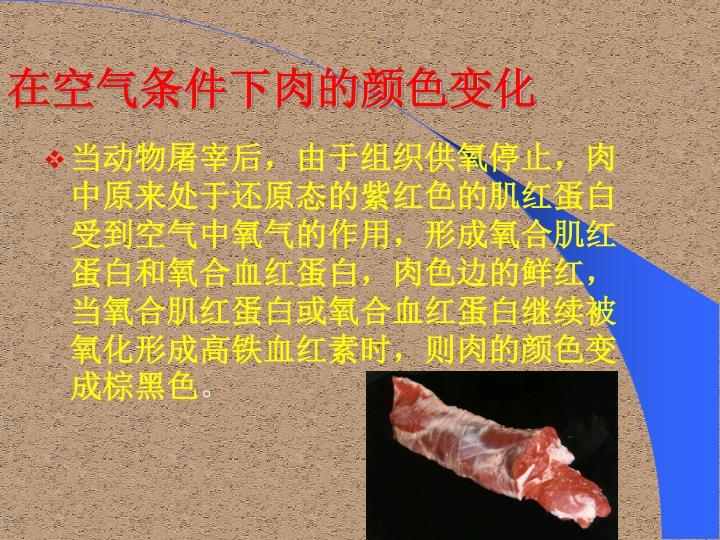 在空气条件下肉的颜色变化