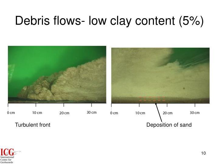 Debris flows- low clay content (5%)