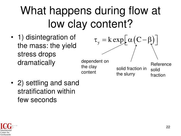 What happens during flow at low clay content?