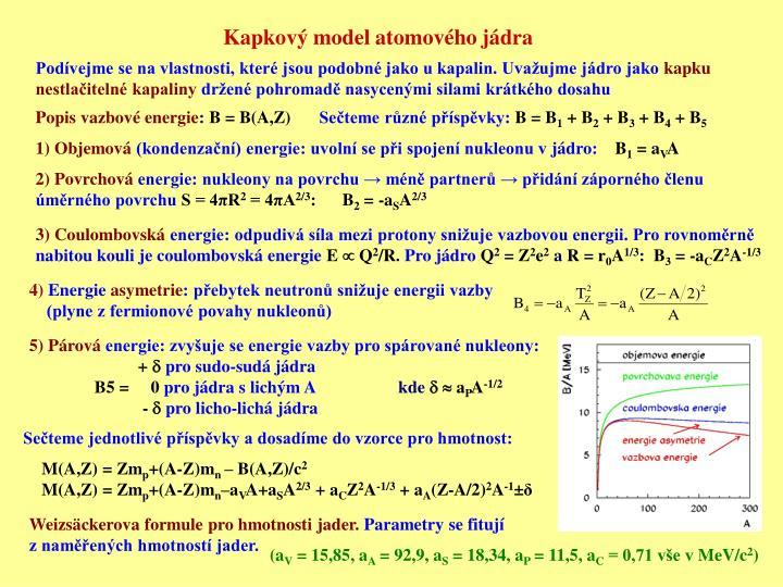 Kapkový model atomového jádra