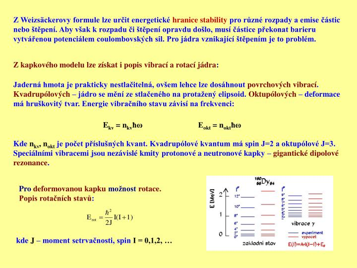 Z Weizsäckerovy formule lze určit energetické