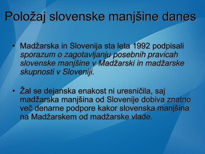 Položaj slovenske manjšine danes