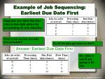 example of job sequencing earliest due date first