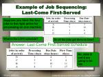 example of job sequencing last come first served