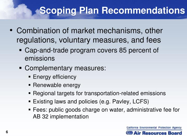 Scoping Plan Recommendations