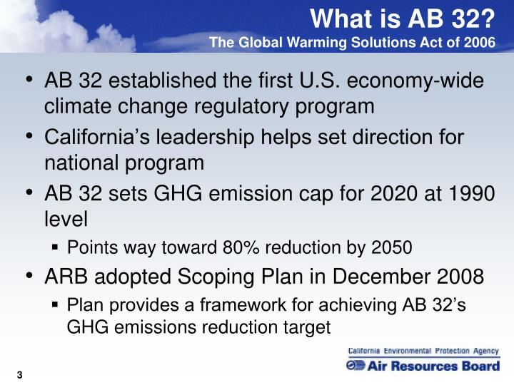 AB 32 established the first U.S. economy-wide climate change regulatory program