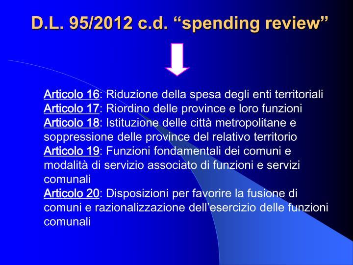 """D.L. 95/2012 c.d. """"spending review"""""""