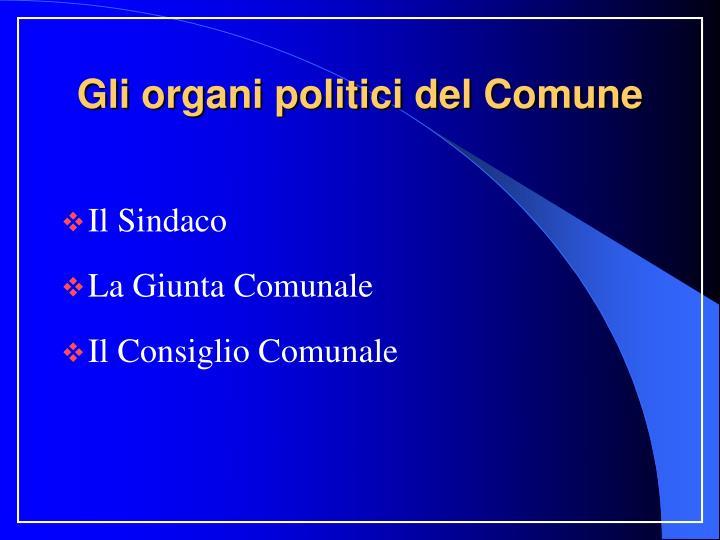 Gli organi politici del Comune