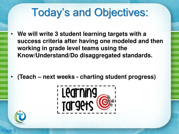 Today's and Objectives: