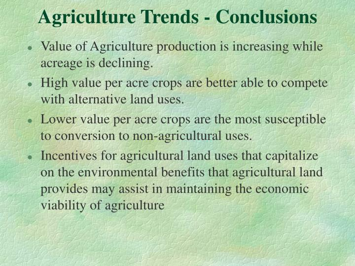 Agriculture Trends - Conclusions