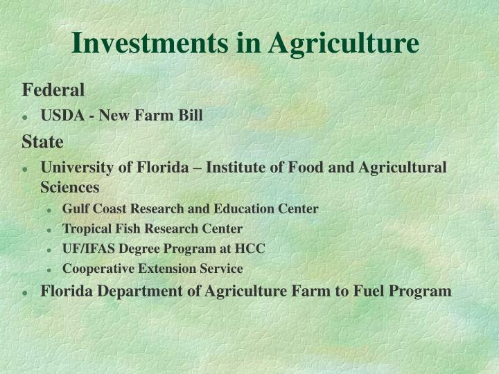 Investments in Agriculture