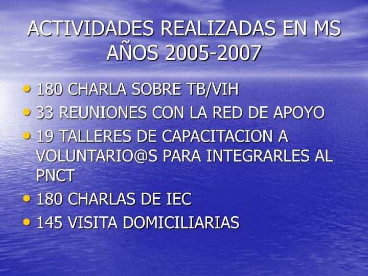 ACTIVIDADES REALIZADAS EN MS AÑOS 2005-2007