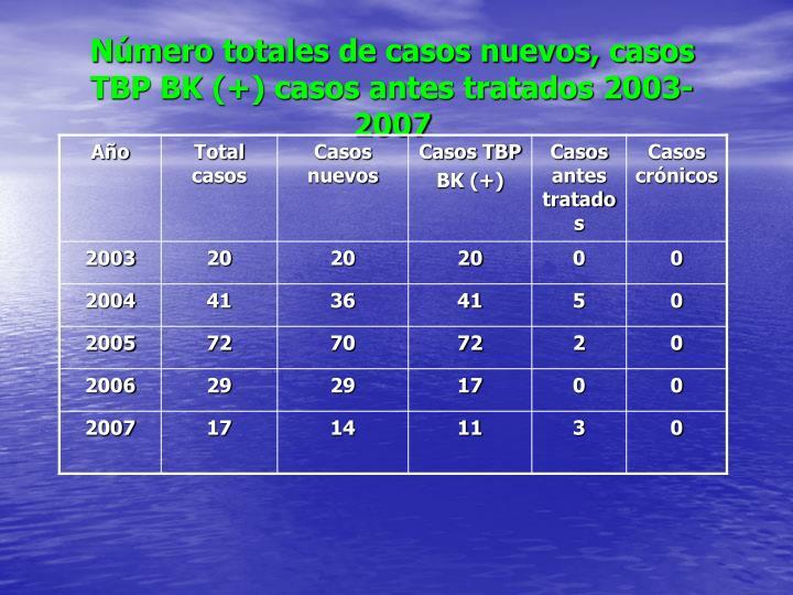 Número totales de casos nuevos, casos