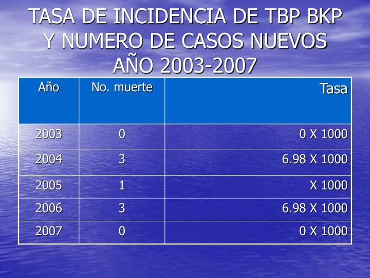 TASA DE INCIDENCIA DE TBP BKP Y NUMERO DE CASOS NUEVOS AÑO 2003-2007