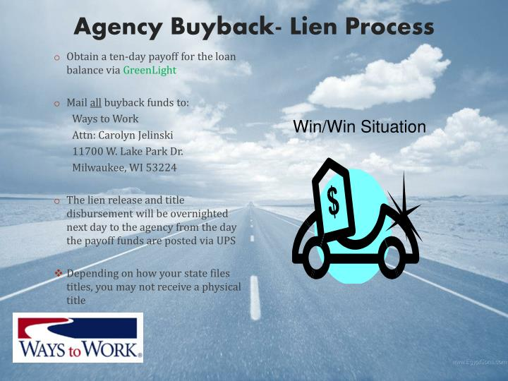Agency Buyback- Lien Process