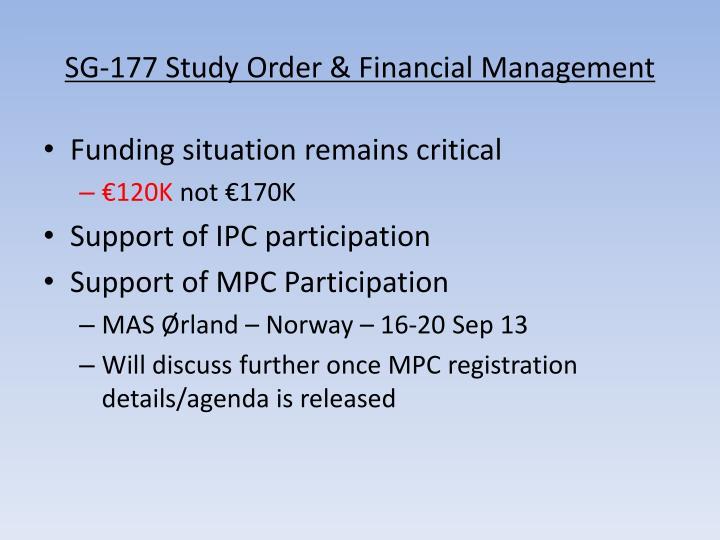 SG-177 Study Order & Financial Management