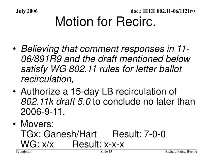 Believing that comment responses in 11-06/891R9 and the draft mentioned below satisfy WG 802.11 rules for letter ballot recirculation,