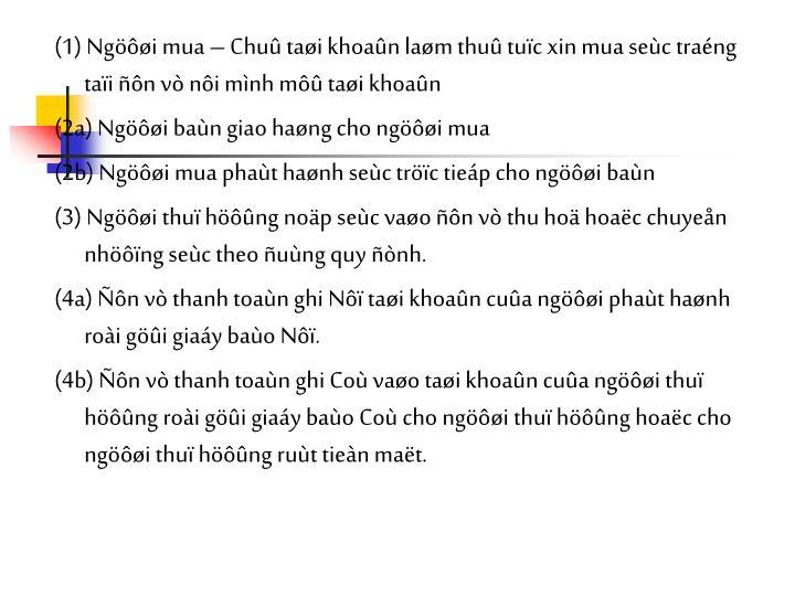 (1) Ngi mua  Chu tai khoan lam thu tuc xin mua sec trang tai n v ni mnh m tai khoan