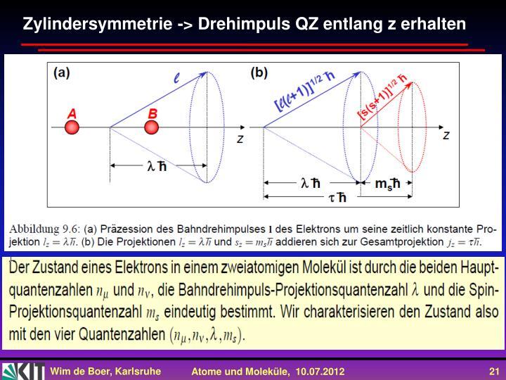 Zylindersymmetrie -> Drehimpuls QZ entlang z erhalten