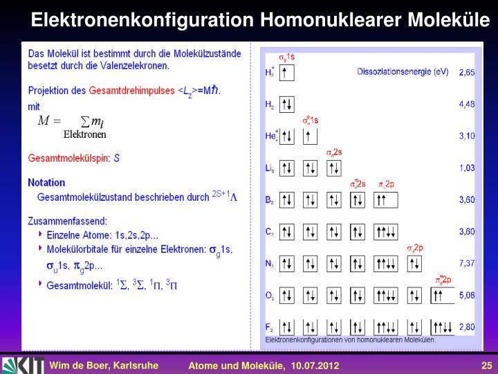 Elektronenkonfiguration Homonuklearer Moleküle