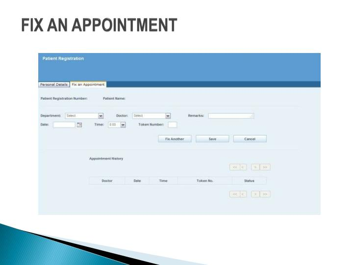 FIX AN APPOINTMENT