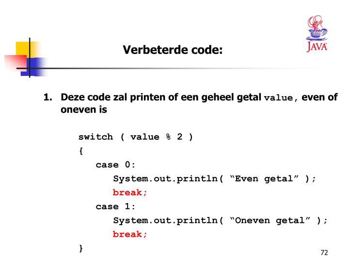 Verbeterde code: