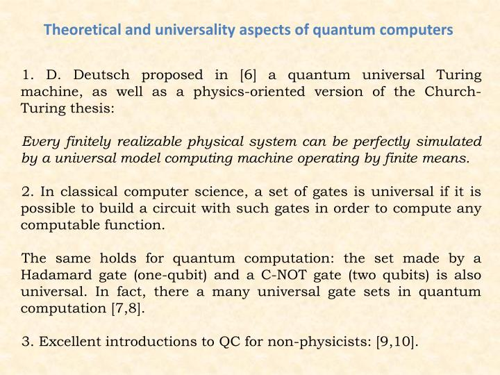 Theoretical and universality aspects of quantum computers