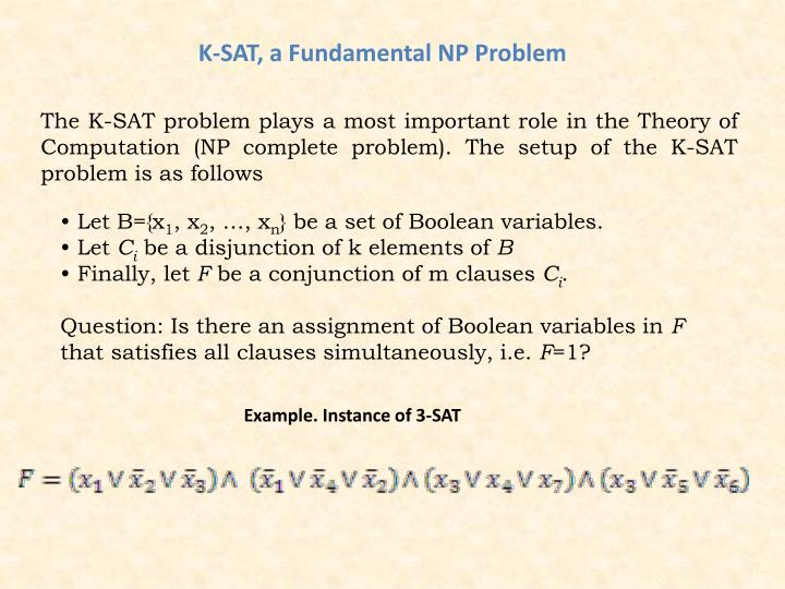 K-SAT, a Fundamental NP Problem