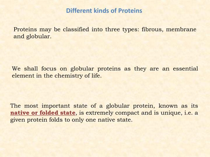 Different kinds of Proteins