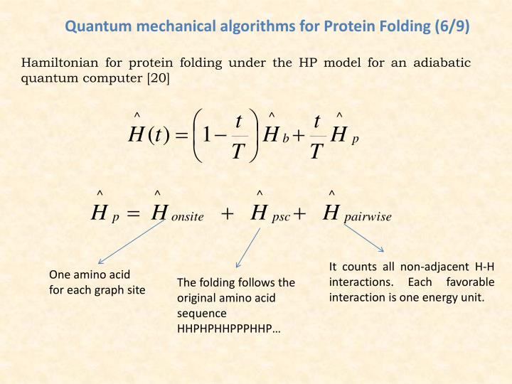 Quantum mechanical algorithms for Protein Folding (6/9)