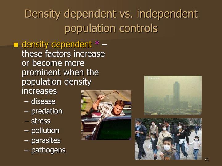 Density dependent vs. independent population controls