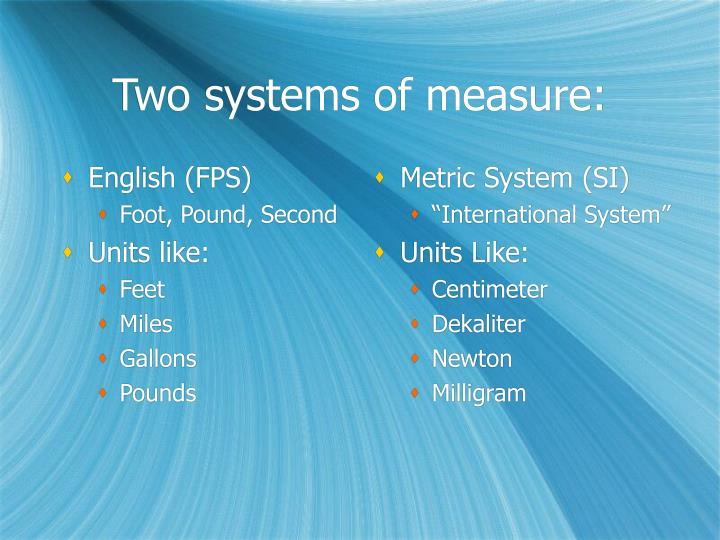 Two systems of measure